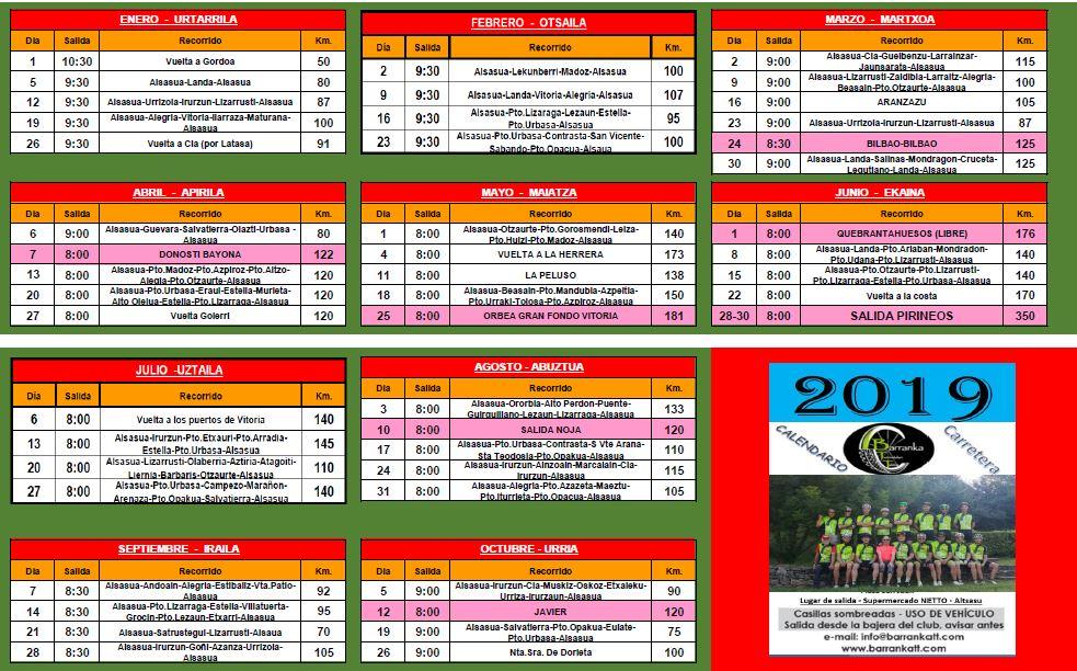 Calendario Carretera 2019